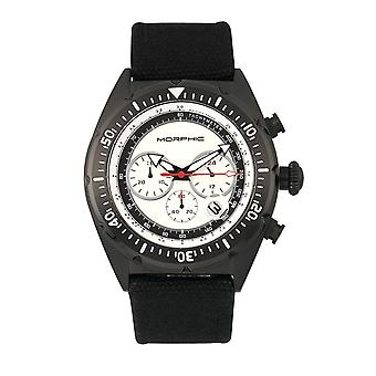 Morphic M53 Series Chronograph Fiber-Weaved Leather-Band Watch w/Date - Black/Silver