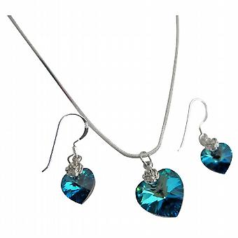 Heart Jewelry Set Dark Sapphire Crystals 18mm Swarovski Sapphire Heart