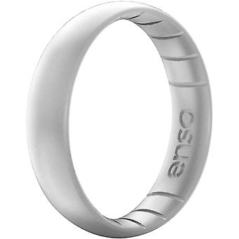 ENSO ringen dunne elementen serie Silicone Ring - Zilver