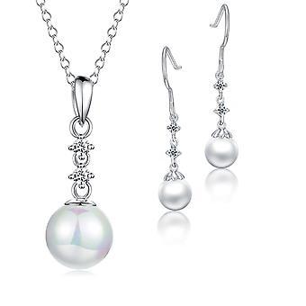 Стерлингового серебра 925 коготь жемчужные серьги и кулон набор