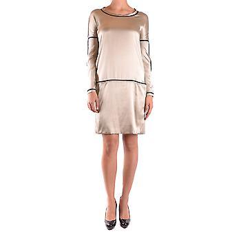 Liviana Conti Ezbc261009 Dames's Beige Silk Dress