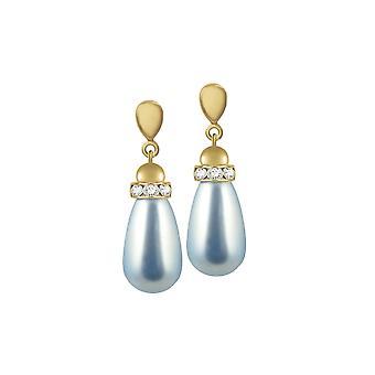 Wieczne kolekcji Beaumont Powder Blue szkła perłowy odcień złota Drop kolczyki Kolczyki