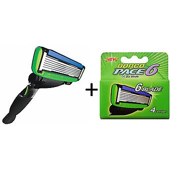 Dorco Pace 6 Razor for Men + 5 Razor Blades: Ultra-sharp six blade Design – Pivoting Head  – Lubrication Strip with Aloe and Vitamin E – 5 Blades + 1 Handle