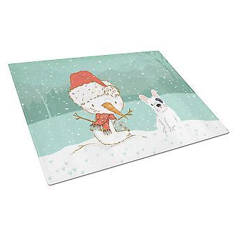 Piebald Ranskan Bulldog Snowman Christmas lasi leikkuu lauta suuri