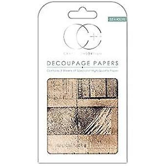 "Craft Consortium Decoupage Papers 13.75""X15.75"" 3/Pkg-Old News"