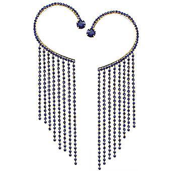 Eeuwige collectie Diva diepe Sapphire Blue Crystal Diamante Gold Tone Cuff oorbellen