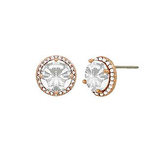 Eternal Collection Dazzle Cubic Zirconia Rose Gold Tone Stud Pierced Earrings
