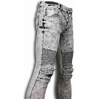 Ripped Jeans - Slim Fit Biker Jeans Lined Knee Pads - Grey clair