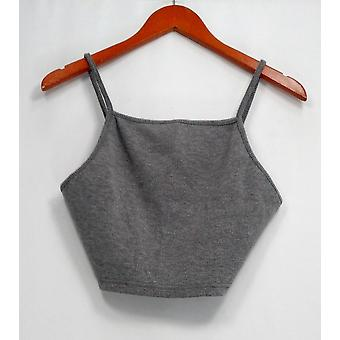Top Shop Top Ribbed Knit Spaghetti Strap Tank Heather Gray