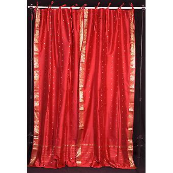 Brique Tie supérieure pure Sari rideau de feu / Drape / panneau - pièce