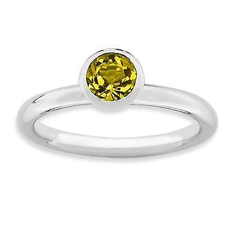 925 Sterling Silver Bezel Polished Rhodium-plated Stackable Expressions High 5mm November Crystal Ring - Ring Size: 5 to