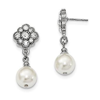 Silver ton kirurgiskt stål post simulerade pärla och kristaller Post Long Drop Dingla Örhängen Smycken Gåvor för kvinnor