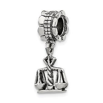 925 sterling silver polerad antik finish reflektioner rättvisa dingla pärla charm