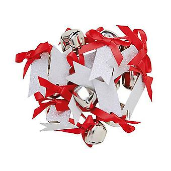 12 Silver 20mm Jingle Bells with Tags for Gifts & Crafts