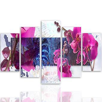 Cinco partes de imagen en lienzo, Pentaptych, tipo A, orquídea composición 1