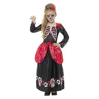 Girls Deluxe Day of the Dead Girl Halloween Fancy Dress Costume