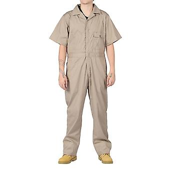 Key unlined short sleeve coveralls - khaki