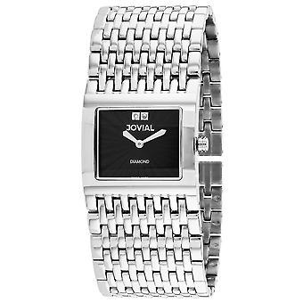 Jovial Women's Diamond Black Dial Watch - 08037-MSM-04