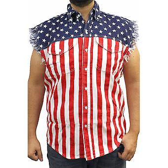 USA Flag Sleeveless Denim Shirt