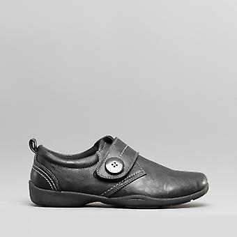 Dr Keller Fryer Ladies Faux Leather Touch Fasten Shoes Black