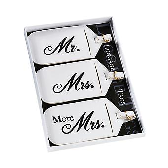 Set of Three Mr, Mrs and More Mrs Luggage Tags