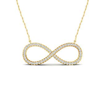 Igi certified solid 10k yellow gold 0.15 ct diamond infinity pendant necklace