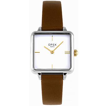 Opex OPW045 Watch - SQUARE Leather Bracelet Brown Bo tier Silver Steel Women