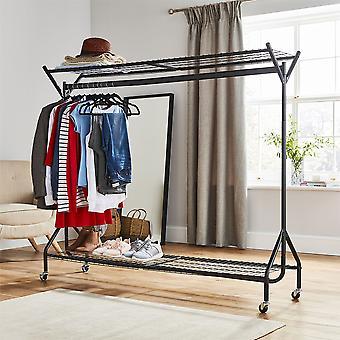 6ft lang x 5ft schwarz schwere Pflicht hängende Kleidungsstück Kleiderstange mit Rack Schuhregal und Hat Stand