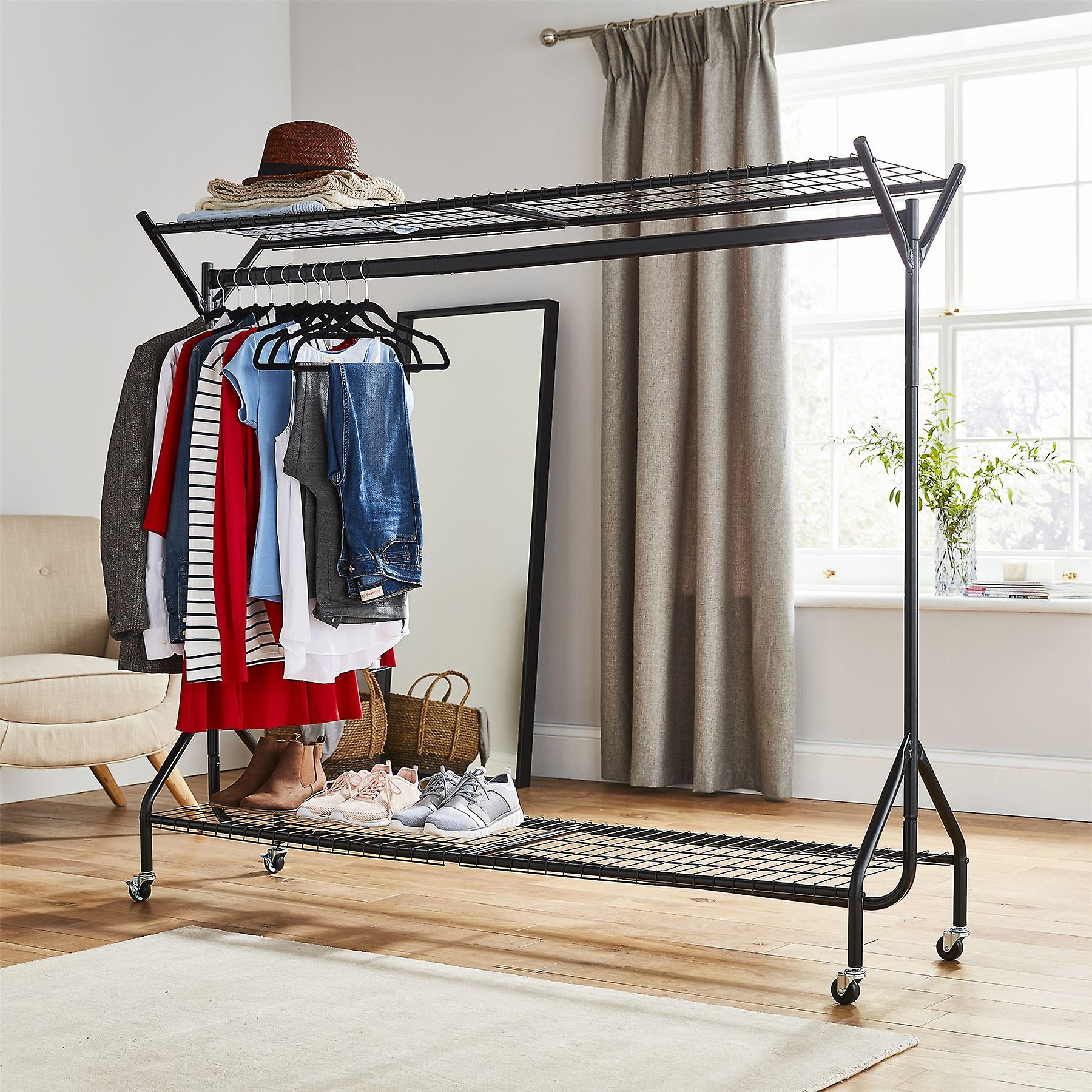 6ft long x 5ft Black Heavy Duty Hanging Clothes Garment Rail with Shoe Rack Shelf and Hat Stand