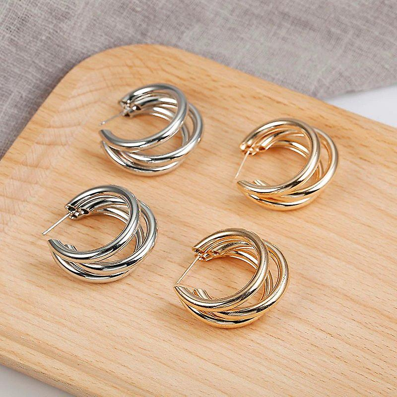 Silver C Shaped Multilayered Earrings