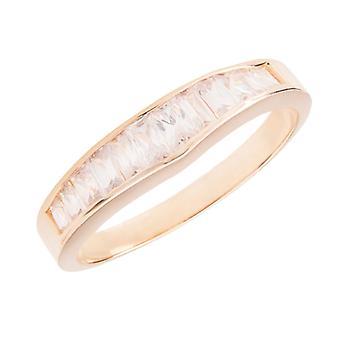Ah! Gioielli Oro riempito, Baquette Taglio Simulato Diamante Mezza Eternità Banda, Stampato GL