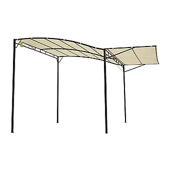 Outsunny Patio Metal Gazebo Door Window Awning Wall Mount Canopy Outdoor Sunshade with Extended Shelter Cream White
