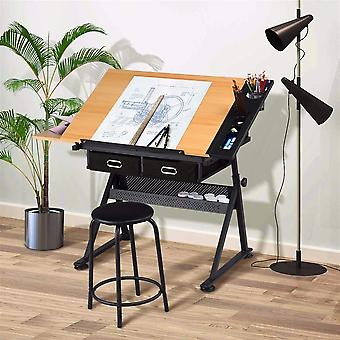 Art Schreibtisch/Tisch mit einstellbarer Höhe 65-90.5cm und 2 Schubladen tiltable Tabletop Drafting/Drawing Table Art /