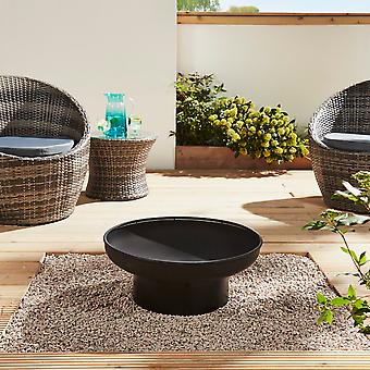 Al aire libre moderno round Fire Pit Bowl - Jardín Cubierta Patio 55cm Diámetro (Negro)