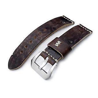 Strapcode leather watch strap 22mm miltat zizz cheese calf dark chocolate brown italian leather watch strap, beige hand stitching