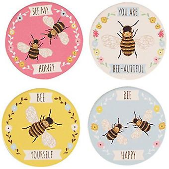 Bee Drinks Coasters -Set of 4 Bee My Honey Bee Happy Bee Yourself Gift