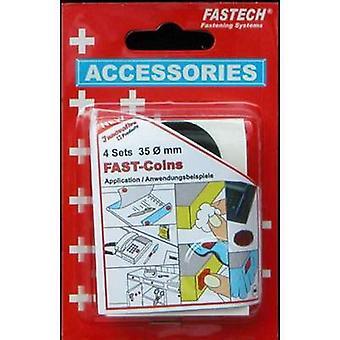 FASTECH® 684-330 Koukku- ja silmukkakiinnityspisteet stick-on (kuuma sulava liima) Koukku ja silmukkatyyny (Ø) 47 mm Musta 4 Pari