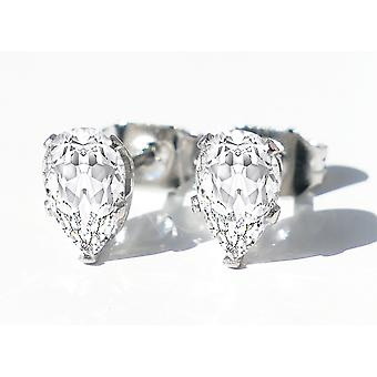Ah! Jewellery Stainless Steel Clear Pear Cut Studs, Stamped 316