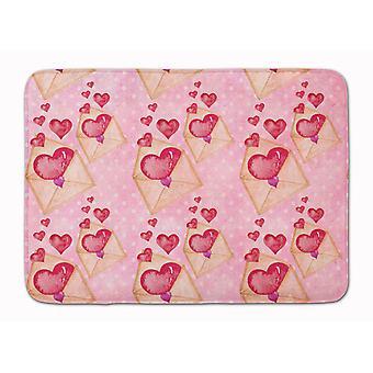 Watercolor Pink Love Letter Machine Washable Memory Foam Mat