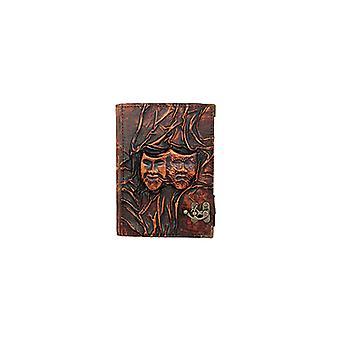 Ekte, skinnbundet journalnotatblokk med dramamasker av Woodland Leathers