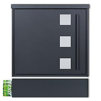 MOCAVI Box 103W ZF 1 7016 Letterbox incl. viewing window anthracite-grey (RAL 7016) with newspaper compartment can be installed separately