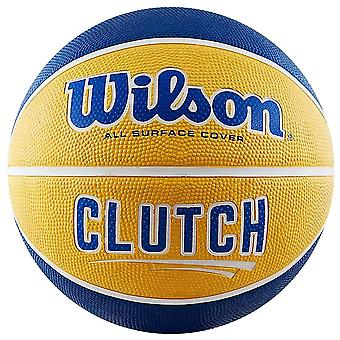 Wilson Clutch All Surface Cover Rubber Basketball Ball Blue/Yellow