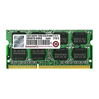 Transcend 2GB, dDR3, PC3-8500, 204Pin DIMM, CL7, 128Mx8 memoria 1066 MHz