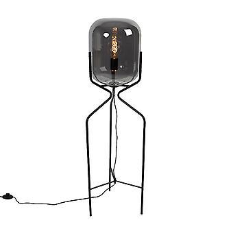 QAZQA Design Stehleuchte schwarz mit Rauchglas - Bliss