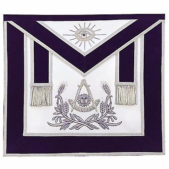 Masonic past master hand embroidered apron silver embroidery purple velvet