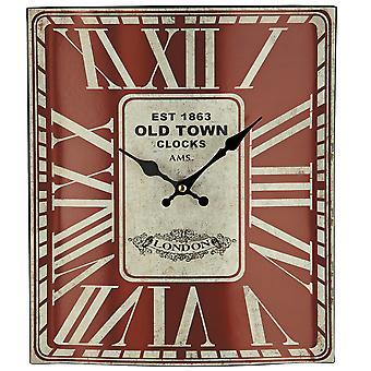 AMS 9472 wall clock quartz analog red square vintage antique retro shabby