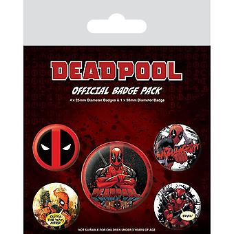 Deadpool Outta The Way Pin Button Badges Set