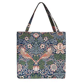 Erdbeerdieb blau gusset Tasche | Damen Wandteppich faltbare Tasche | guss-stbl