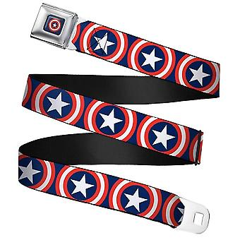 Marvel Captain America Shield Repeat Navy Webbing Cinto de Fivela do Cinto de Fivela