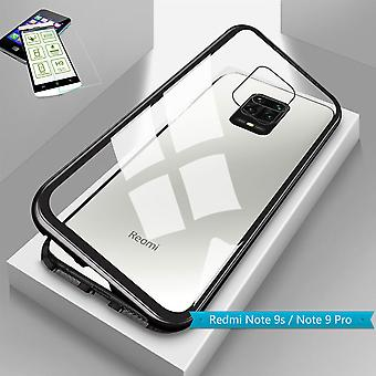 Para Xiaomi Redmi Note 9S / 9 Pro Magnet / Metal / Vidro Saco Caixa Preto / Transparente + 0,26 mm H9 Vidro Duro